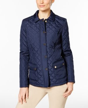 Charter Club Petite Quilted Water-Resistant Coat, Only at Macy's - Blue P/XL
