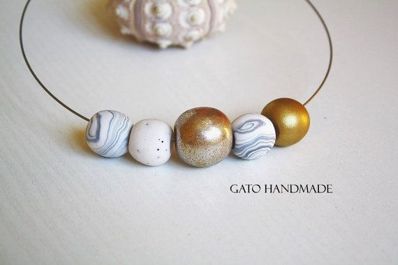 Golden eye handmade necklace/Unique golden by GATODesign on Etsy