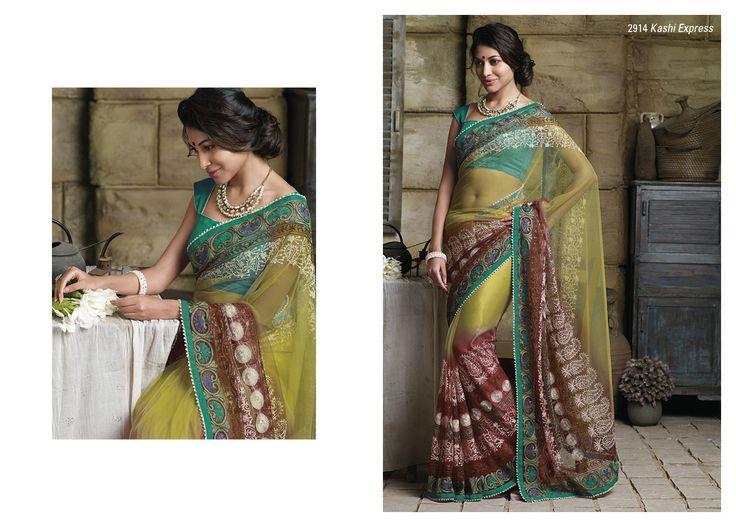 Fantastic work on net saree with green color border  & bhagalpuri blouse piece