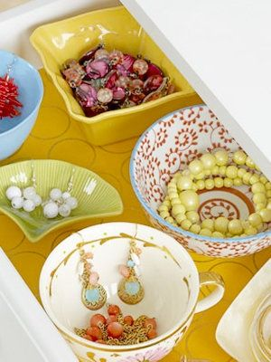 decorative teacups & dishes for organizing jewelry/ paper in drawers