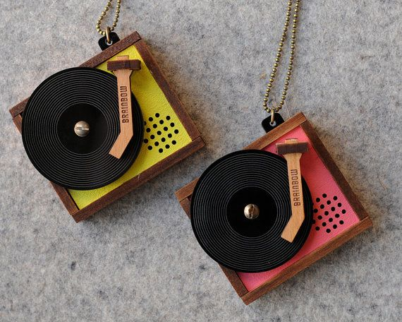 Wooden Record Player Necklace--unique 80's jewelry, goes with best #boom #music http://boom973.com/
