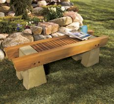 Concrete and Wood Garden Bench. Here are complete plans to build ...