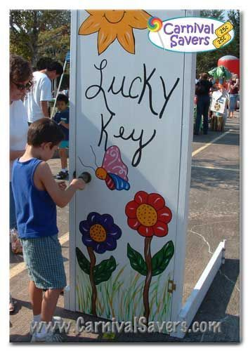 Lucky Key Unique Carnival Game Idea. Maybe something pops out when they open the door? Or they get a squirt from a squirt gun?: