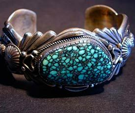 Harry H Begay Hand-Forged Silver Ingot Turquoise Bracelet
