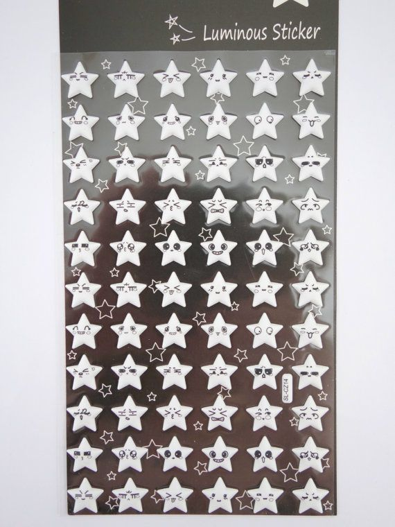 GLOW in the dark puffy 3D star emoticon face geekery stickers by 2FooDogs on Etsy $6.00  https://www.etsy.com/shop/2FooDogs