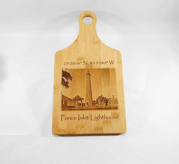 Light House Bamboo Cutting Board, Ponce Inlet wall Art, Cutting Board, Light House Bamboo Cutting Board