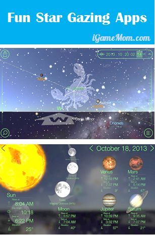 Two star gazing apps showing stars you are supposed to see in the sky on the screen with relevant data, one is free! #kidsapps #ScienceApps