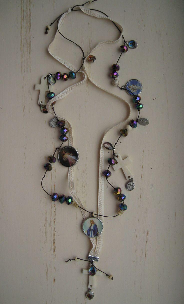 DIJAIA ooak JEWELRY with glasbeads/ bone and DEVOTIONAL pendants by RR 2013