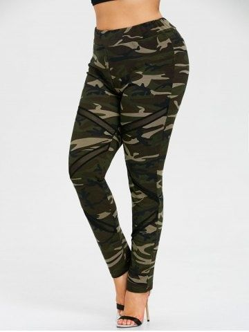 Plus Size Mesh Insert Camo Leggings 1