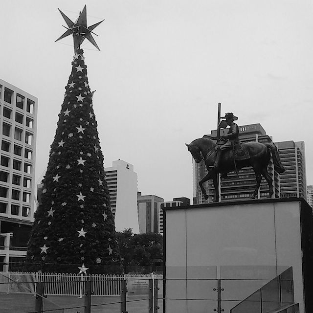 The christmas tree in King George Square from a slightly different perspective. photo by Barry Johansen