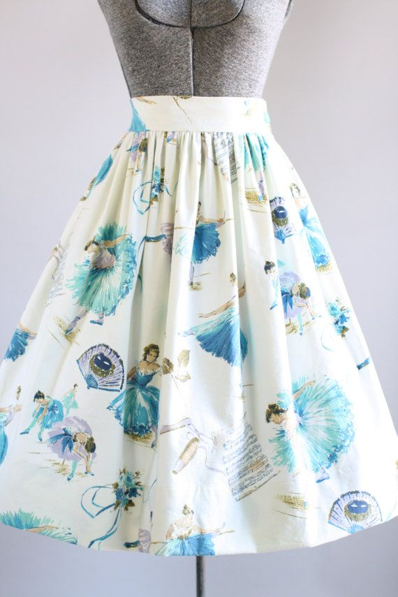 Vintage 1950s Skirt / 50s Cotton Skirt / Turquoise Ballerina Novelty Print Cotton Skirt L
