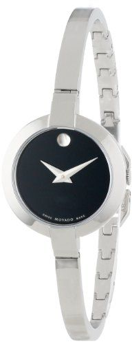 Movado Women's 0606595 Bela Stainless Steel Case and Bangle Bracelet Black Dial Watch | Your #1 Source for Watches and Accessories