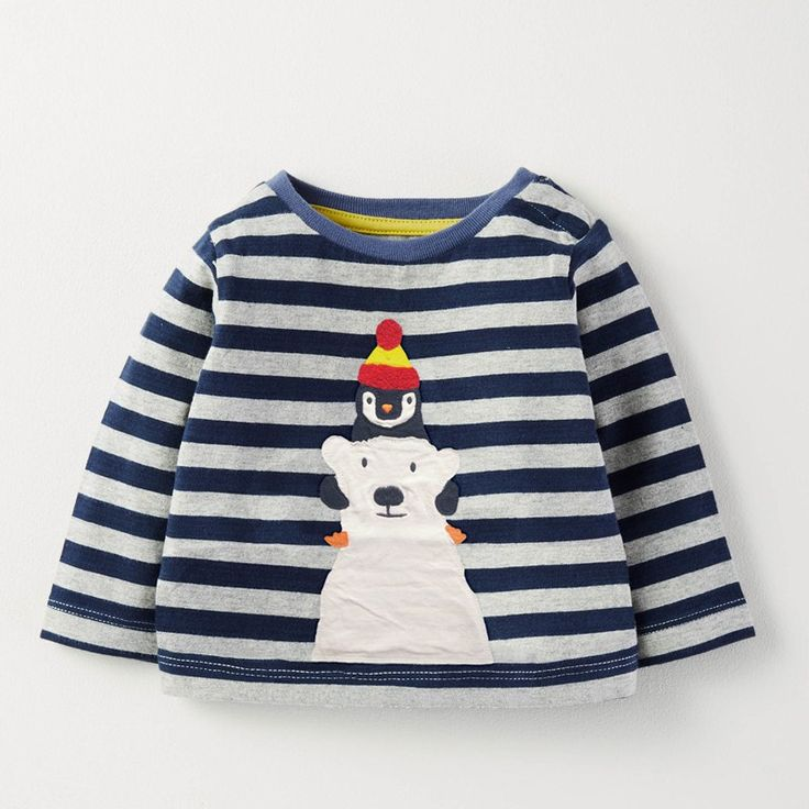 Brand New 2017 Long Sleeve Autumn Unisex T shirt For Girls Boys With Cute Cartoon Penguin And White Beer Pattern Navy Sripe //Price: $23.04 //     #kids