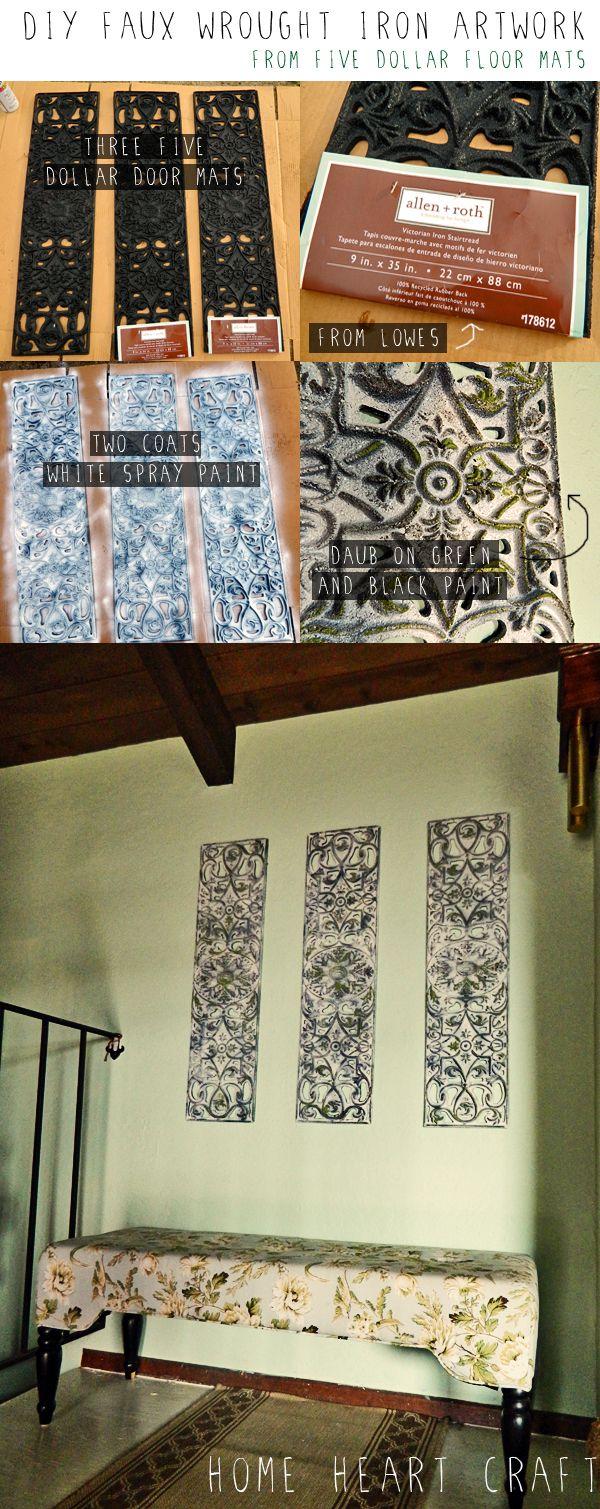 DIY Cast Iron Artwork from rubber door mats