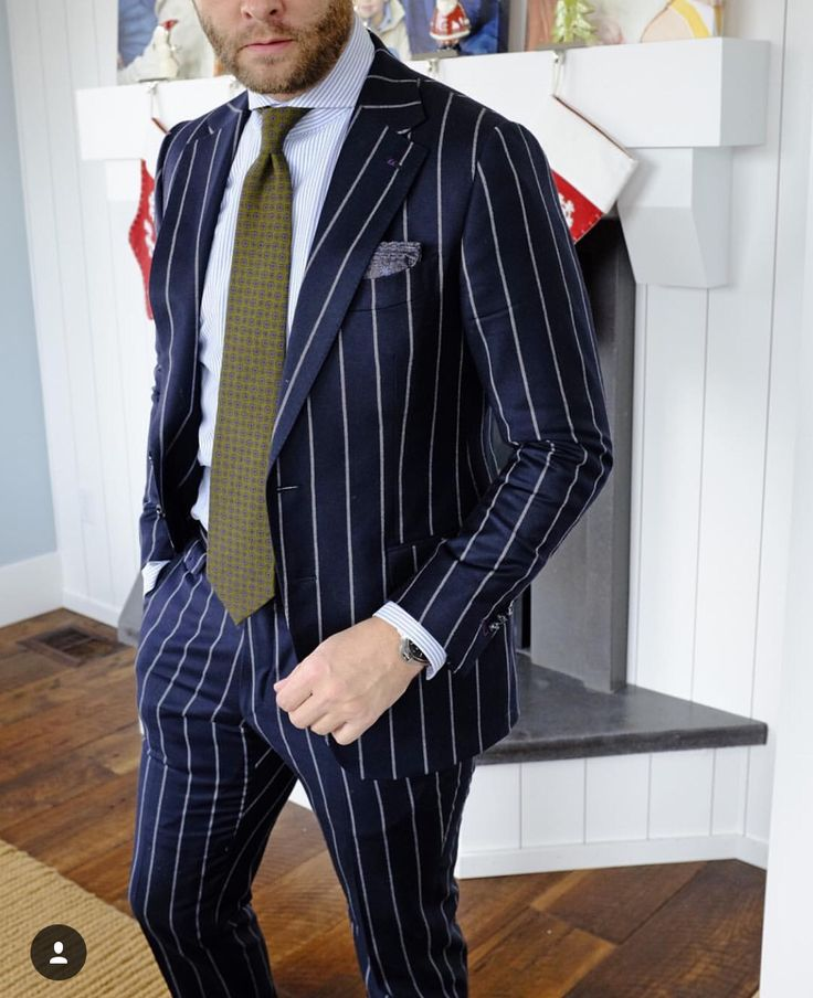 Black suit with white lines | Gentleman's clothes | Pinterest