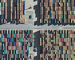Aerial Photographs of Shipping Container Terminals by Bernhard Lang