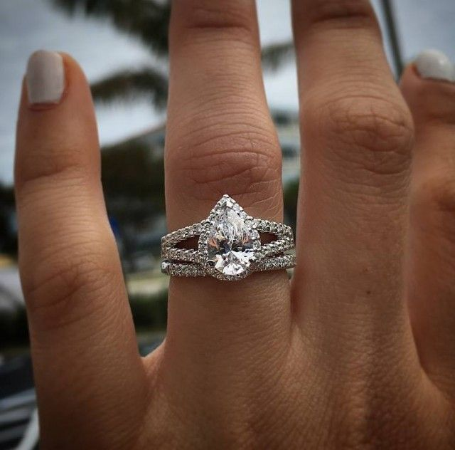 Pear shaped diamond halo ring