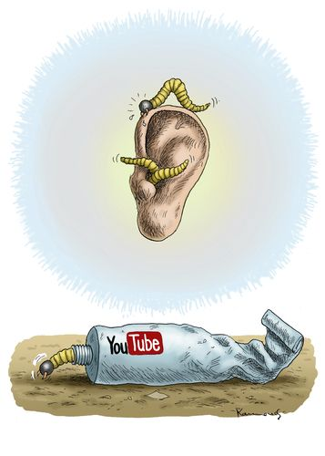 Cartoon: YouTube (medium) by marian kamensky tagged you,tube,ohrwürmer,musik,music,commerz,verbraucherschutz,konsum,you,tube,ohrwürmer,musik,music,commerz,verbraucherschutz,konsum