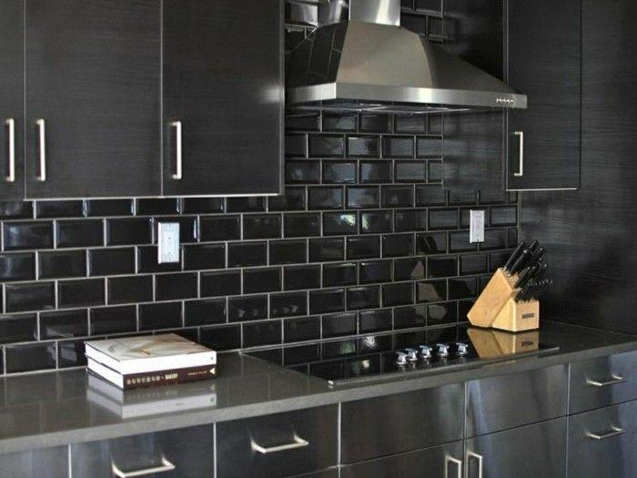 metrofliesen schwarze wandfliesen küche einrichten ideen - wandfliesen für küche