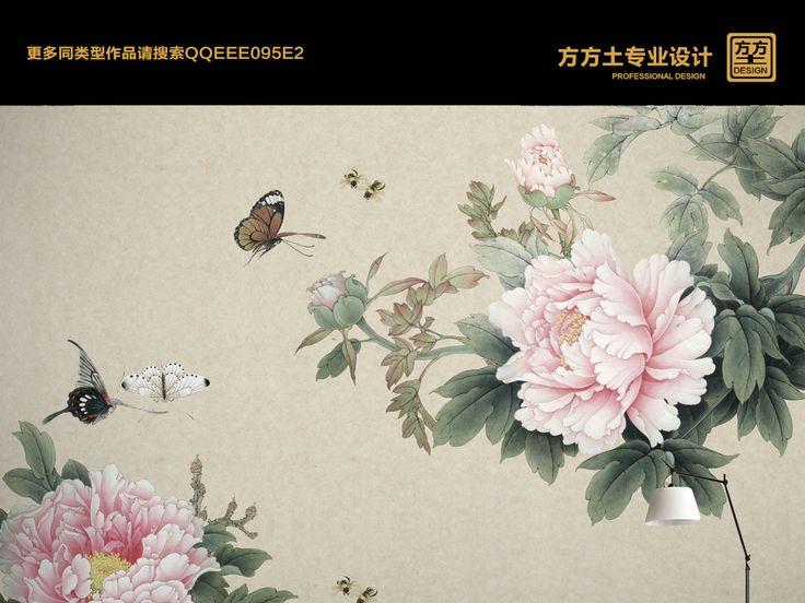 电视背景墙绘画囹�a_高清手绘新中式工笔牡丹壁画装饰画图片设计素材_psd模板下载(240