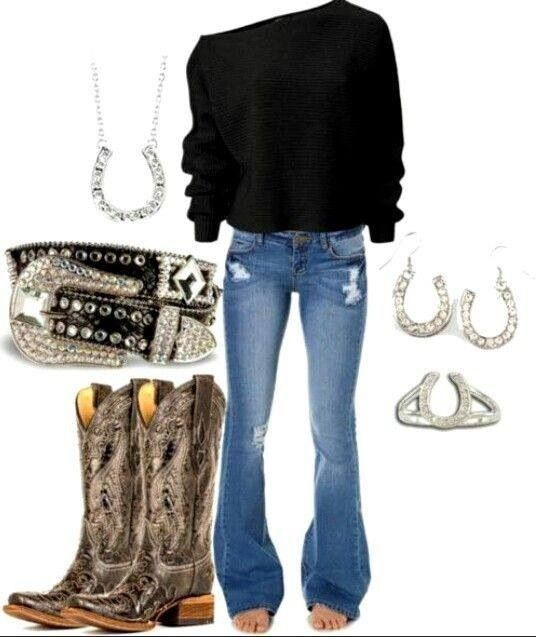 Cute outfit with horseshoe ring earrings and necklace with cowboy boots