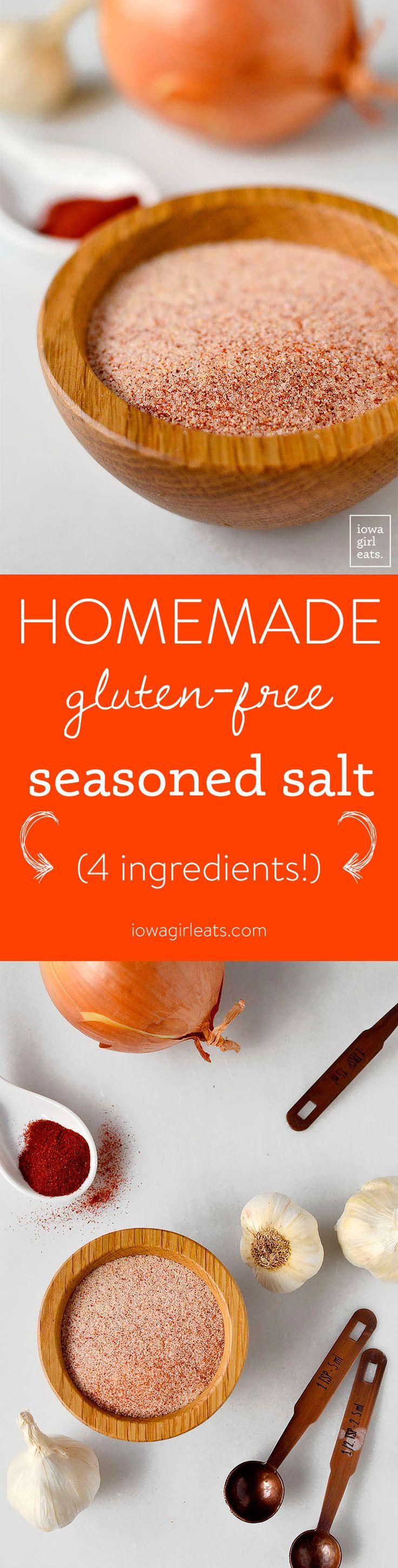 Homemade Gluten Free Seasoned Salt plus 10 Ways to Use It  | http://iowagirleats.com/
