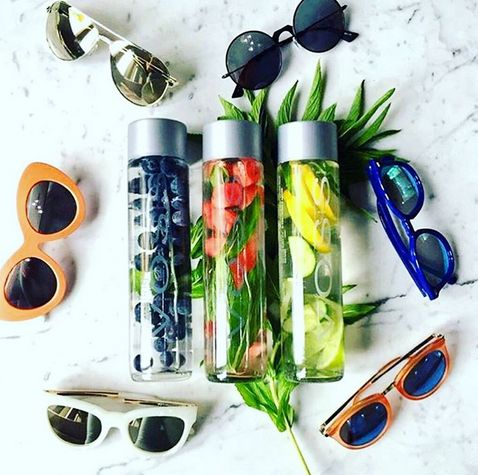 A trio of VOSS Fruit Infusions and Le Specs Frames to ring in the weekend! #strawberry, #blueberry #mint, #lemon #lime  #recipe #DIY