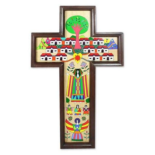 NOVICA Guatemalan Hand Painted Wood Cross ($73) ❤ liked on Polyvore featuring home, home decor, wall art, crosses, wall decor, timber tree, heart wall art, red wall art, novica and wooden wall art