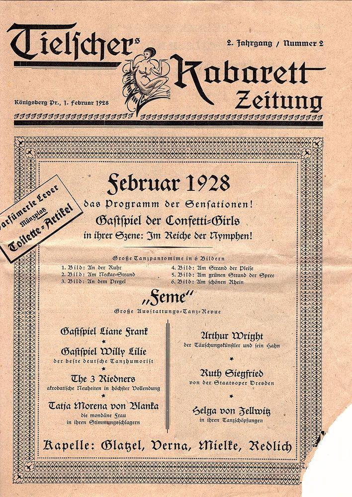 1928 Königsberg Tielschers Kabarett Zeitung Programm Kaliningrad Калинингра́д