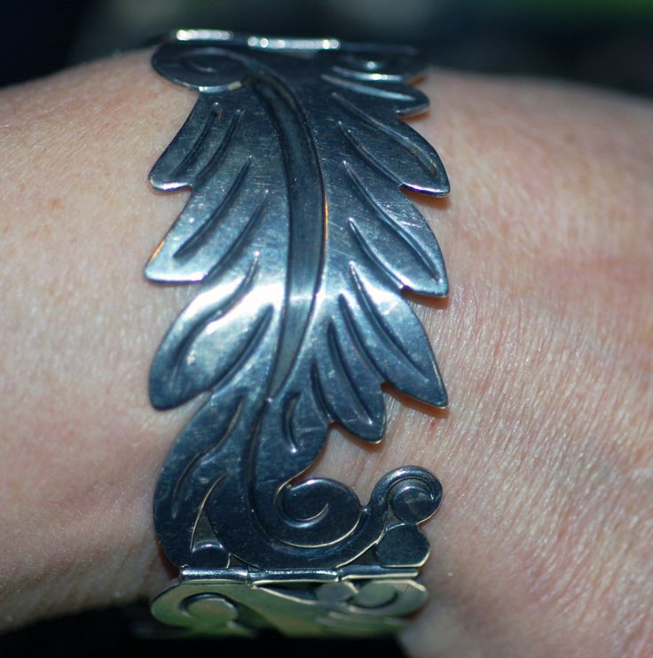 Vintage Old signed Villasana Mexican Silver Bracelet; price includes shipping by girlztown on Etsy