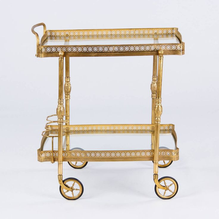 Midcentury French Brass Bar Cart 3