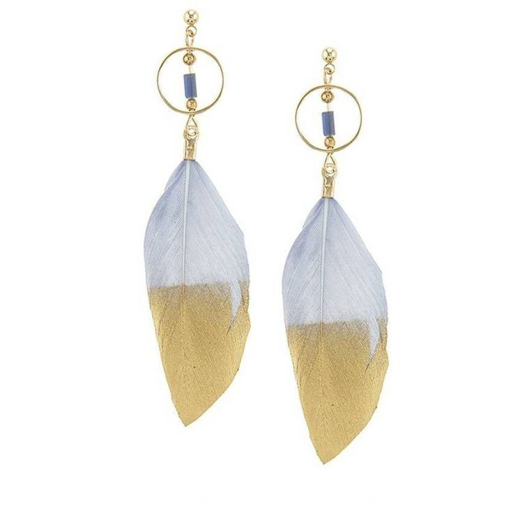 Gray & Gold Feather Drop Earrings