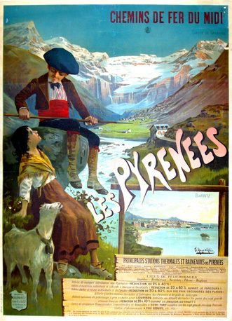 FRANCE VINTAGE TRAVEL POSTER Les Pyrenees RARE NEW