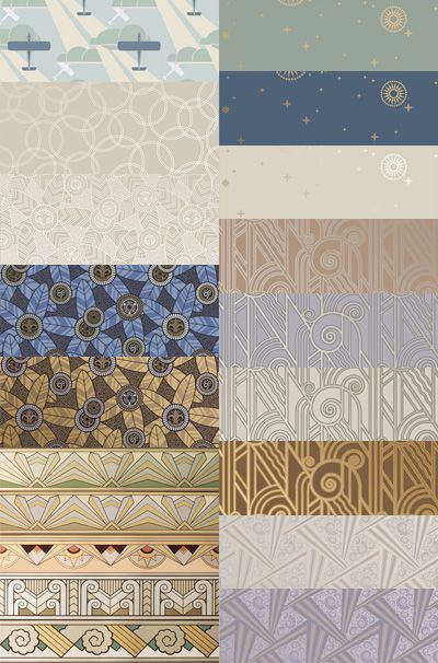 Art Deco wallpaper sample kit in Platinum