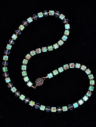 Turquoise bead & Czech rondelle necklace