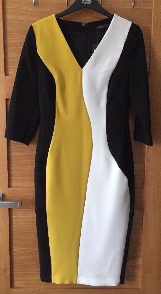 d6a1ac12d6 Ladies M S Size 8Black White   Mustard Yellow Lined Bodycon Dress  BNWT.45.00.  fashion  clothing  shoes  accessories  womensclothing  dresses  (ebay link)