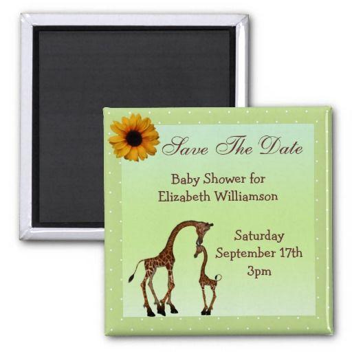 Mom U0026 Baby Giraffe Green Save The Date Baby Shower Magnet