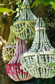 Hellooow Handmade Ceramic Bead chandeliers in sorbet colours!