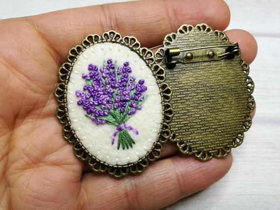 Embroider Lavender Brooch, Embroidered Floral Brooch, Lavender Flower Jewelry, Mothers day gift, Gift for grandma, gift for aunt
