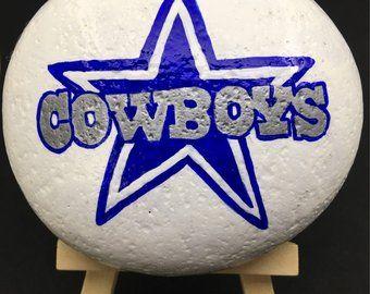 Dallas Cowboys Hand Painted Rock Gift Idea Sports Fan Painted Rocks Cowboy Crafts Hand Painted Rocks