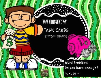 These 20 task cards are perfect for reviewing/reinforcing the concepts of counting coins, word problems, real world problems such as do you have enough and adding/subtracting money, comparing two groups of coins/bills with >,<, or =. The task cards are both in color or black and white.