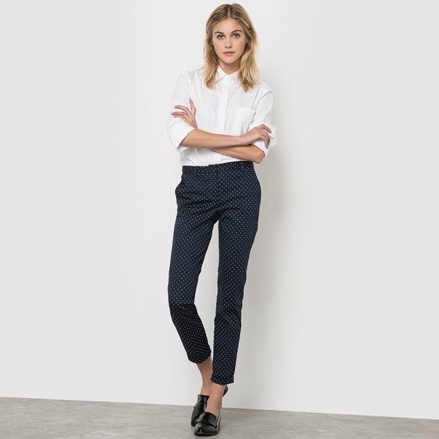 7/8 broek in stretch stof, stippenprint R essentiel