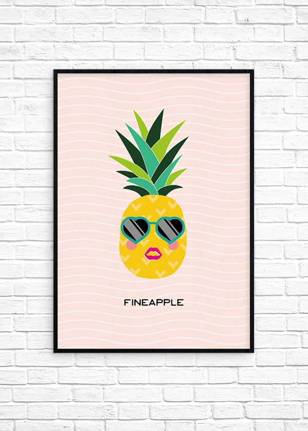 """Hey there fineapples! 😉 I'll let you in on a little secret, this month's wall art was born from bad pick-up lines. Yep, that's right, I accidentally came across a page full of food-related pick-up lines the other day and that was it. I was hooked. I mean, after seeing killer puns like """"if you were a tropical fruit, you'd be a fineapple"""" how could I say no?... Read More"""