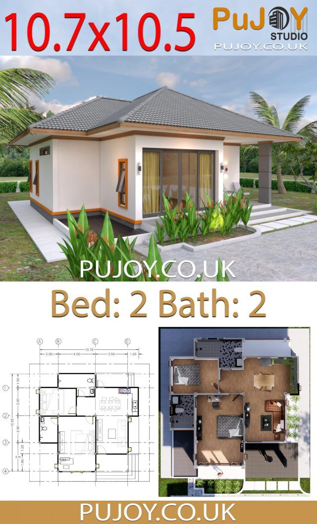 Pujoy Studio One Story House Plans 10 7x10 5 With 2 Bedrooms Hip Roof Odnoetazhnye Doma Chertezhi Doma Dom