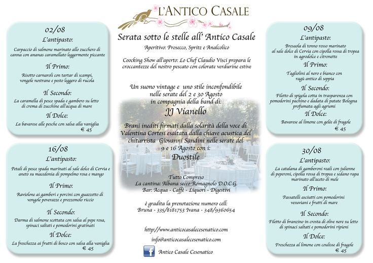 Serate sotto le stelle all'Antico Casale a Cesenatico, 4 cene a tema di pesce accompagnate da ottimo vino! #cena #agosto #pesce #ristorante #eventi #venerdì #casale #villa