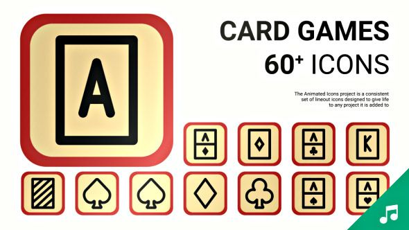 Casino Card Game - Animated Icons and Elements