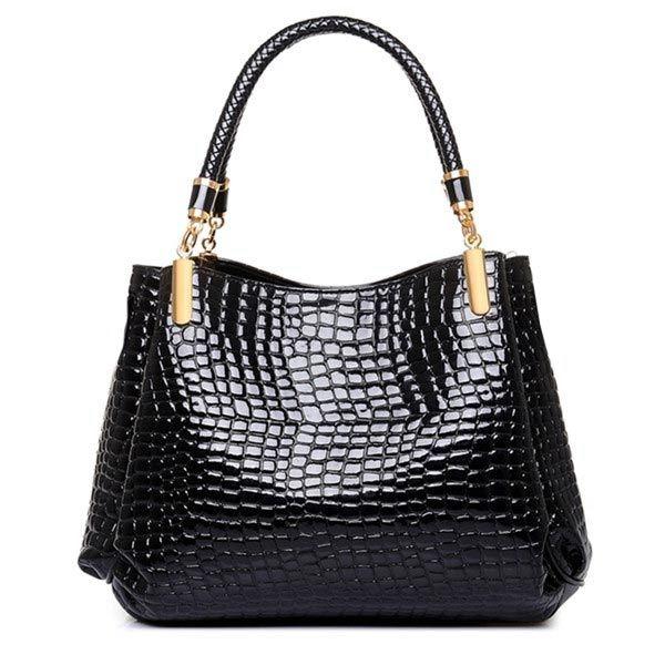 Crocodile Womens Japanned Leather Satchel sacolas sacos de ombro