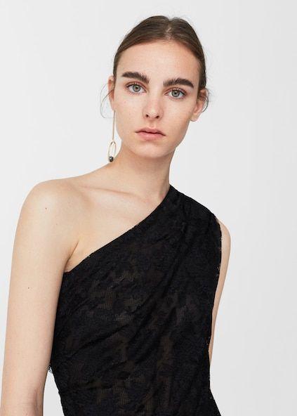 Lace assymetric top