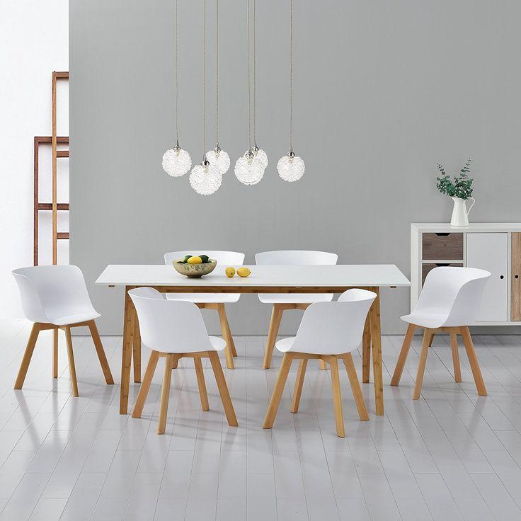 [en.casa]® Esstisch mit 6 Stühlen weiß 180x80 Küchentisch