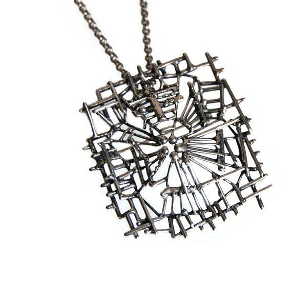 Studio E&P Modernist Sculpture Pendant Necklace Brooch Vintage Norwegian Abstract Sterling Silver Jewelry Accessories Industrial Art 1960s